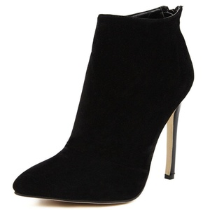 Juoar Women's Pointed Toe High Heel Booties Back Zip Ankle High Boots Fashion Stiletto Winter Warm Shoes Suede Black US4