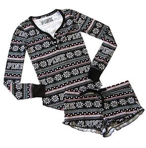 Victoria's Secret PINK Thermal Short Pajama 2 pc Set, Black Fairisle (Small)
