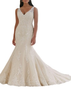 Favors Women's Mermaid Lace Wedding Dress Plus Size Bridal Gown with Strap Ivory 22W