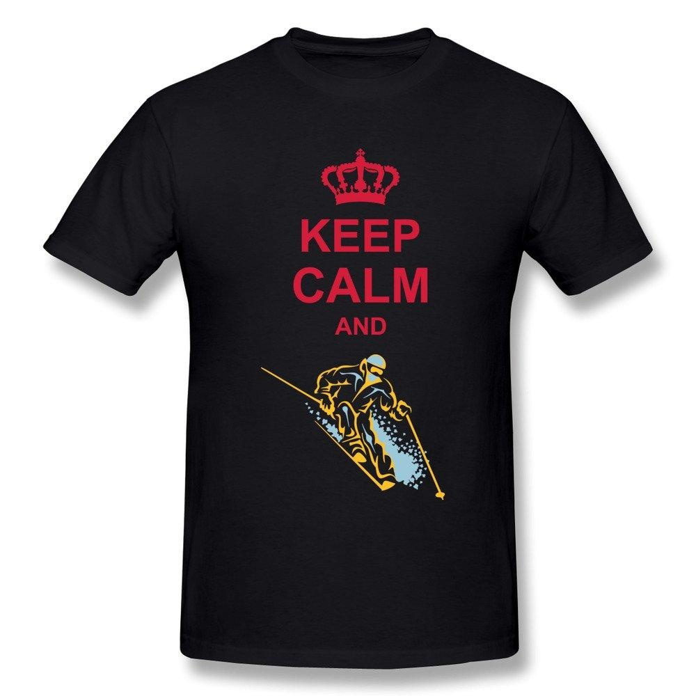 HM Men's T Shirts Keep Calm Skiing Size 3X Black
