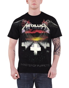 Metallica T Shirt Master Of Puppets Faded Band Logo Official Mens Black