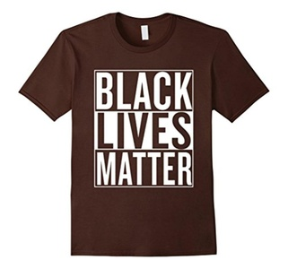 Men's Black Lives Matter Race Unity Say No Racism T-shirt 3XL Brown