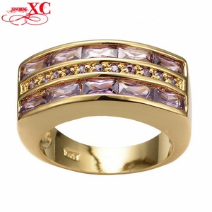 GemMart Jewelry ig Size 9/10/11/12 Zircon Fashion Men's Ring 10KT Yellow Gold Filled Amethyst Finger Ring RY0146