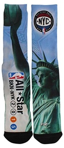 For Bare Feet Mens All Star Game 2015 Liberty Sublimated Crew Socks Green