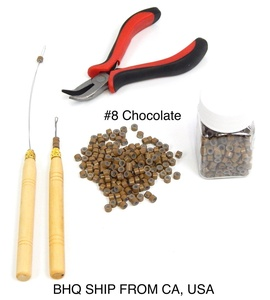 Professional Hair Extension Tool Pliers Hook Needle With 500PCS 5mm Micro Silicone Rings Beads (Chocolate)