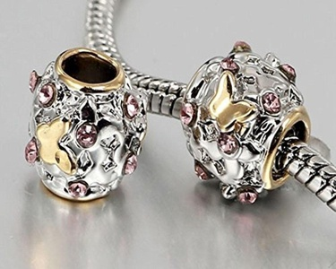 Charm Central Premium Gold & Silver Butterfly Charm - One (1) Two-Tone Butterfly Charm for Charm Bracelets - Fits Pandora Bracelets