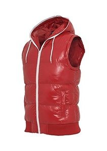 Urban Classics Hooded Bubble Vest Weste red-white - XL by Urban Classics