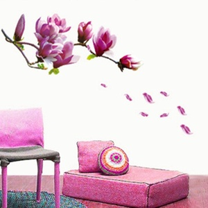 Purple Magnolia Wall Stickers Wall Decal Mural Home Decor