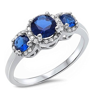 Vintage 3 Stone Halo Wedding Ring Round Brilliant Cut Simulated Sapphire and Clear CZ 925 Sterling Silver