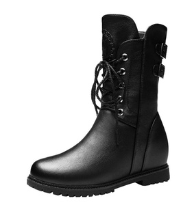 T&Grade Women Fashion Casual Round Toe Lace Up Buckle Decorated Mit Top Flat Walking Boots(8 B(M) US, Black)
