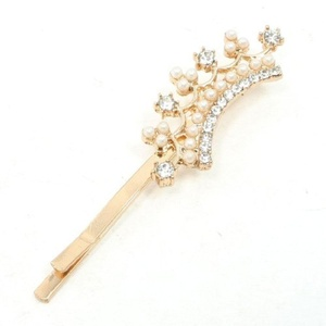 FOREVER YUNG Beads Embellished Crown Hair Barrette Bar Metal Bobby Pin Clip for Ladies by FOREVER YUNG