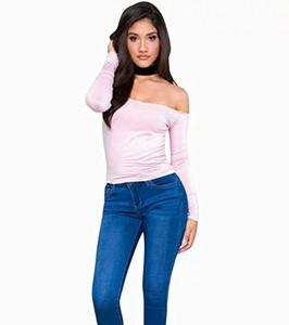 MIXMAX Women's Long Sleeve Off Shoulder Open Back Crop Choker Blouse Top(Pink,Large)
