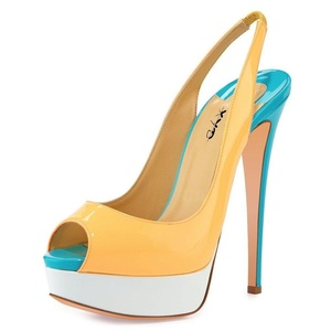 XYD Women Platform Patent Peep-Toe Slingbacks Pumps Dress Stilettos Heeled Sandals Size 12 Dark Yellow