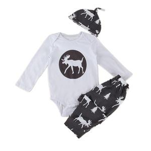 Puseky Newborn Baby Long Sleeve Deer Printed Romper+Long Pants+Hat Outfits Set (0-6 Months)