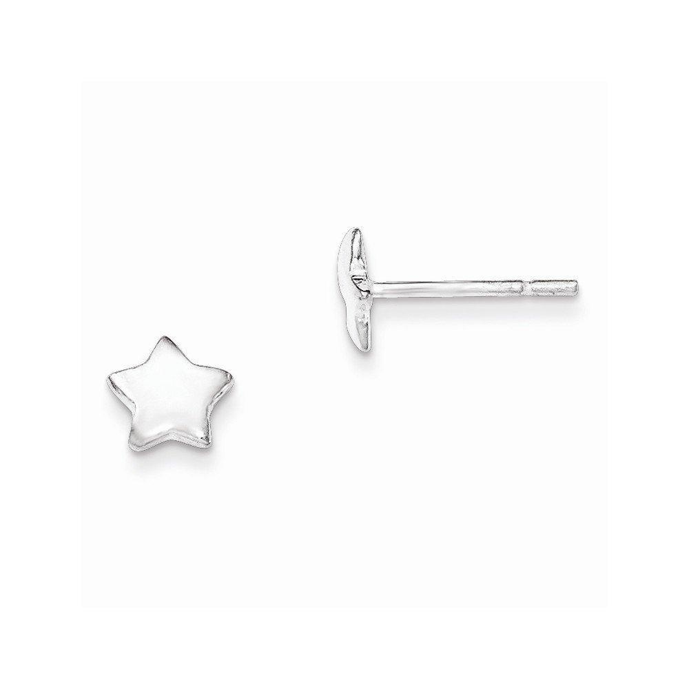 .925 Sterling Silver 6 MM Children's Polished Star Post Stud Earrings