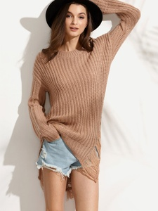 Drop Shoulder Long Sweater in Camel