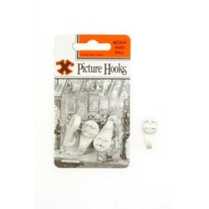 Hard Wall Picture Hooks - White (Blister Pack) Medium by X
