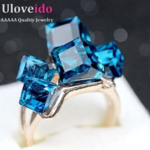 Slyq Jewelry Ladies Crystal CZ Engagement Cocktail Ring Large Zirconia with Blue Topaz Rhinestones Jewelleries Teng GR123