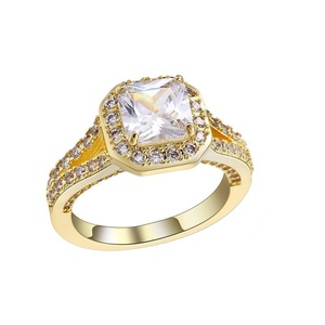 Gold Plated CZ Cublic Zircon Full Crystal Womens Wedding Party Bridal Jewelry Ring US size 7,8,9