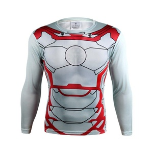 NEW Avengers White Iron Man Stretchy Quick-Dry Sports T-Shirt Gym Cycling Jersey (Asian-M)