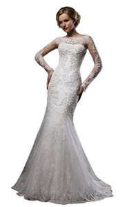 JoyVany Lace Mermaid Wedding Dress 2016 Long Sleeves Sweep Train Wedding Gowns Ivory Size 22W