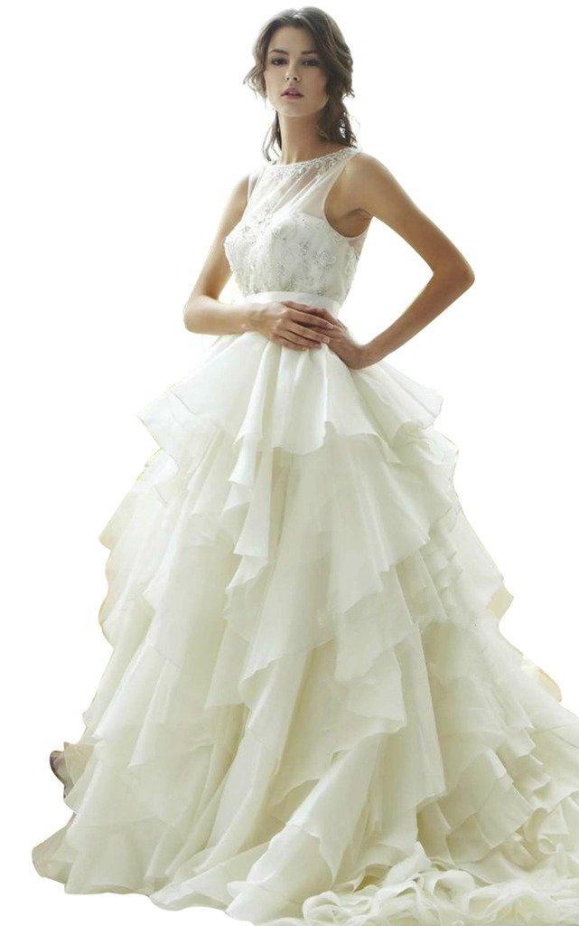 JoyVany Stunning Sleeveless Ruffled Organza Bridal Wedding Dresses with Beading White Size 26W