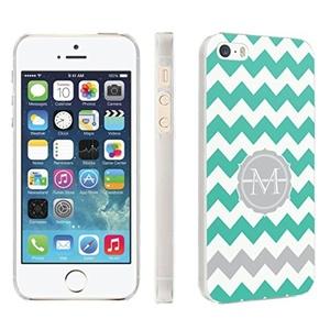 iPhone [SE/5/5S] Phone Case [Skinguardz] [Clear] Fancy Protection [Clear Form Fit] - [Mint Chevron M Monogram] for iPhone [SE/5/5S]
