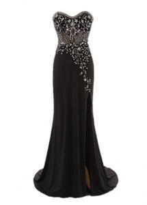 Winnie Bride Exquisite Beaded Black Evening Dress for Women Formal Prom Dress-16-Black