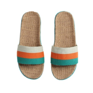 Women Stripes Linen Skidproof Indoor House Flax Slipper (6-7 B(M) US, Green/Orange/White)