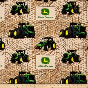 John Deere Flannel Topographic Multi Fabric By The Yard