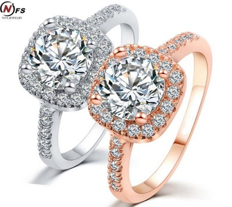 Cherryn Jewelry New Square Design White Gold Plated Filled Ring CZ Wedding Ring Luxury Brand Jewelry s