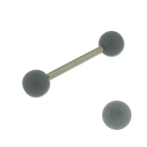 Acrylic Barbell Tongue Ring with Yellow Grey Ball