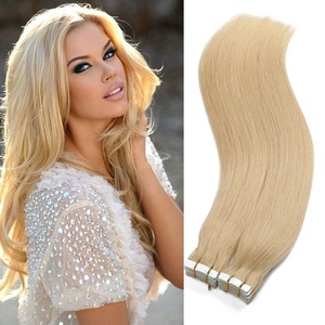 Taida Hair Longer Length Remy Tape in Human Hair Skin Weft Real 100% Human Hair Extensions Straight 100% Human Hair 613 Bleached Blonde