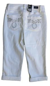 Earl Jean Womens Capri Embellished Jeans, White (4)