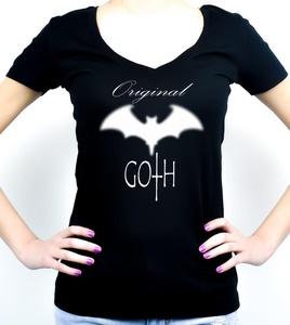 Original Goth Blurred Bat Women's V-Neck Shirt Top (S)