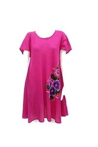Hand Drawn Painted Women Cotton Dress Pink Handmade
