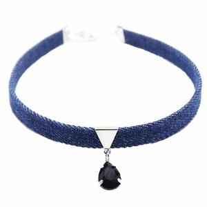 Gaobei Women Blue Denim Choker Collar Skull Leopard Head Fish Bone Pendant Chain Necklace Gothic Jewelry