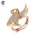 Slyq Jewelry Crystal Jewelry Romantic Engagement Ring Platinum Plated Birds Charms Crystal CZ Animal Trendy Accessories
