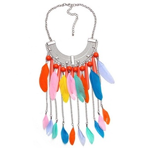 ARICO Feather Necklace Jewelry Chain Necklace Long Tassel Pendant Necklace Boho Choker Statement Necklace