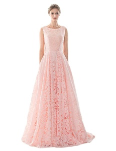 Favors Women's A Line Scoop Neck Wedding Dress Lace Prom Dress with Pockets Pink 8