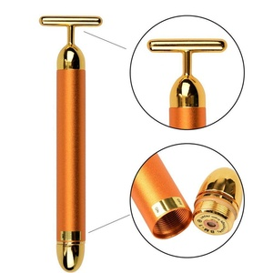 Tmalltide 24K Gold Facial Roller Massage Body Skin Face Care Wrinkle Treatment Energy Waterproof T Beauty Bar Massager Stick Vibration