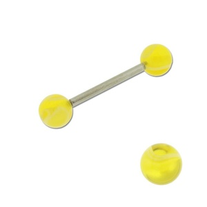 Acrylic Barbell Tongue Ring with Yellow Marble Ball
