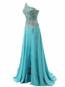Winnie Bride One-Shoulder Rhinestones Evening Prom Dress for Pageant Long 2016-16W-Light Blue