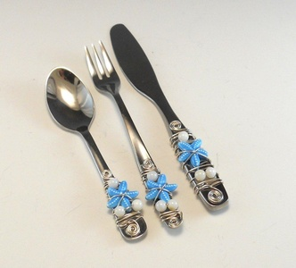 Beaded Hors'dourve Utensils/Appetizer Fork, Spoon, and Knife/Set of 3 Beaded Knife Fork and Spoon