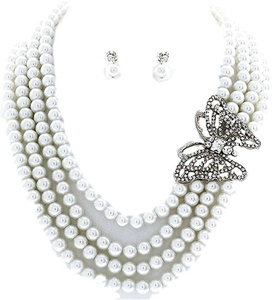 Pearl Strands Butterfly Necklace Pierced Earring Set