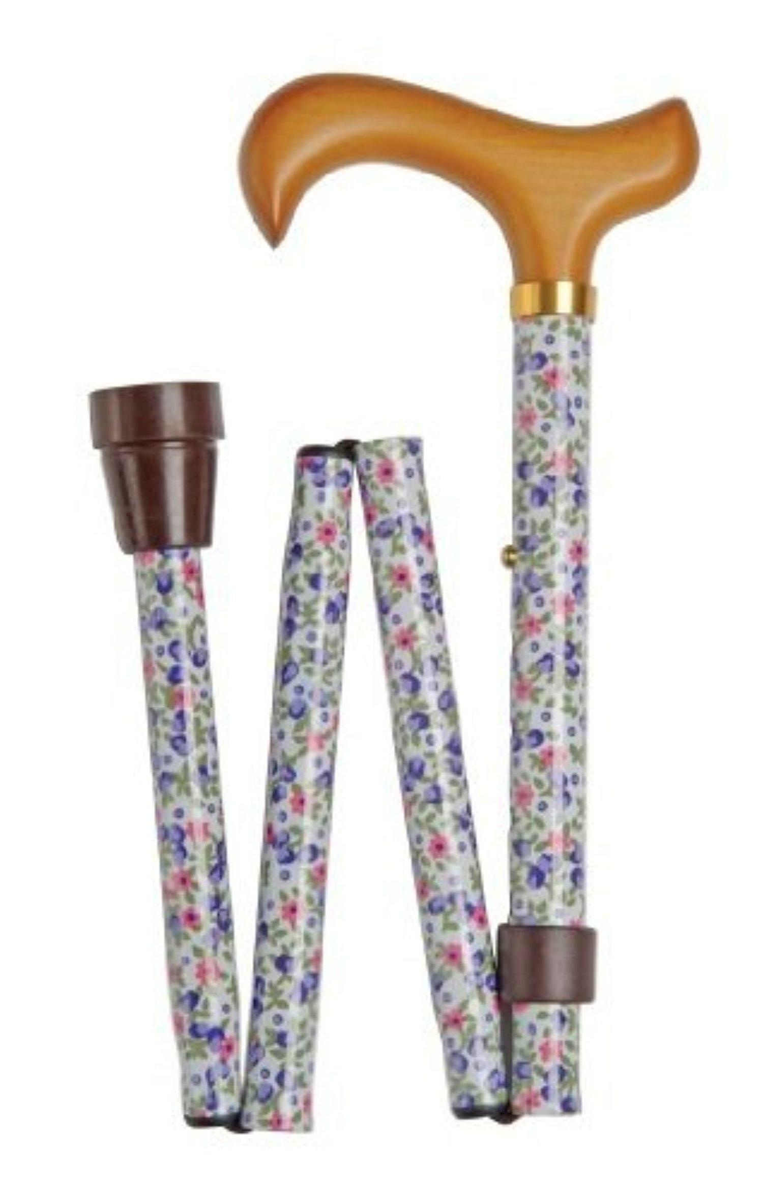 Folding Walking Stick - 4816A White Floral by Classic Canes by Classic Canes