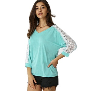 Women Lace Crochet Shirt, Misaky Sleeve Loose Casual Blouse Tee Tops (L, Green)