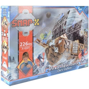 Snap-X Dark Galleon Pirate Adventures 226 Pce Build & Play Set 2in1 Construction by Snap-X