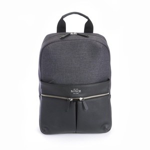 Royce Leather Men's Power Bank Charging Leather Laptop Backpack