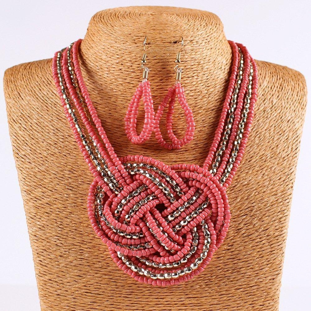ARICO Jewelry Set Big Boho Bohemian Necklace Beads Multilayer Necklace Set African Beads Jewelry Sets Gold Plated NB343